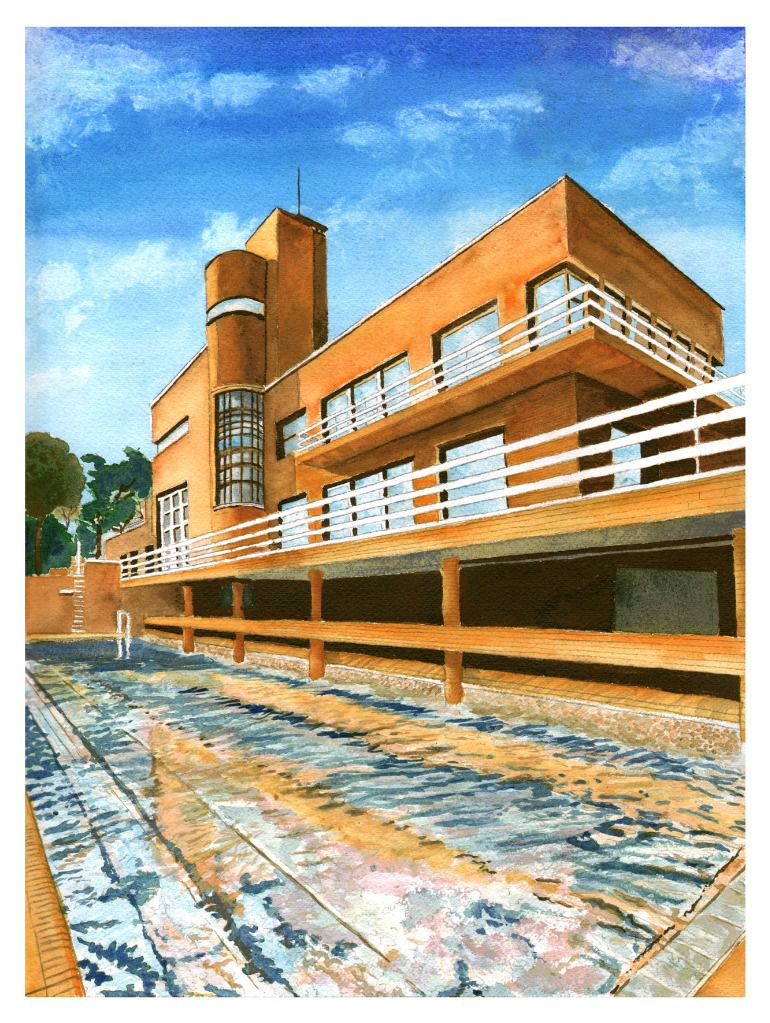 Villa Cavrois - Reflection in the Pool - Watercolour on Arches paper -  12' X 16' (31cm X 41cm)