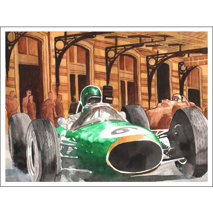 Monaco GP 1964  - Numbered HD Print - 23 cm X 32 cm - 9 in X 12,5 in - Cold pressed Paper 140 lb